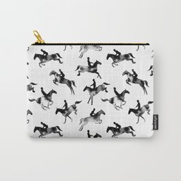 Watercolor Showjumping Horses (Black) Carry-All Pouch