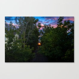 A Train in Waterbury at Dusk Canvas Print