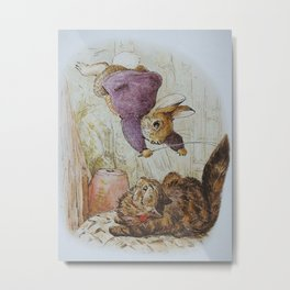 Bunny vs Kitty Metal Print