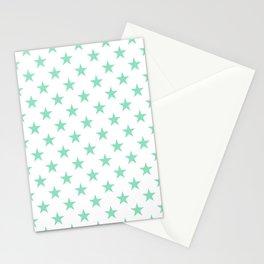 Stars (Mint & White Pattern) Stationery Cards