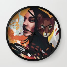 The Big Bang expressionism portrait of a girl with puma mask and cigarette Wall Clock