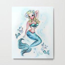 Pinup Mermaid with Merkittens Metal Print