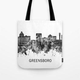 Greensboro North Carolina Skyline BW Tote Bag