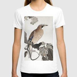 Jay sitting on Oak tree - Japanese vintage woodblock print T-shirt