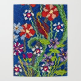 Starry Floral Felted Wool, Blue Poster