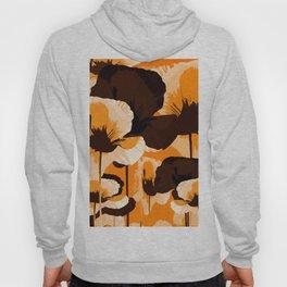 Fall Color Poppies on Dark Orange Background Retro mood #decor #society6 #buyart Hoody