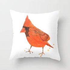 red bird, cardinal, male cardinal, bird painting, watercolor birds, gift for bird lover Throw Pillow