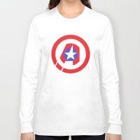 avenger Long Sleeve T-shirts featuring Captain Avenger by foreverwars