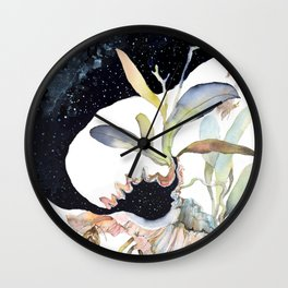 Space Psychedelic Orchids Moths Sky Black and White Wall Clock