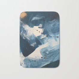 Against the Current: A bold, minimal abstract acrylic piece in blue, white and gold Bath Mat