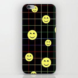 Colorful Smiley Emoji 4 - black iPhone Skin