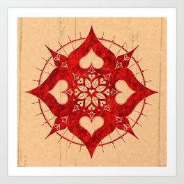 lianai hearts redstone mandala Art Print