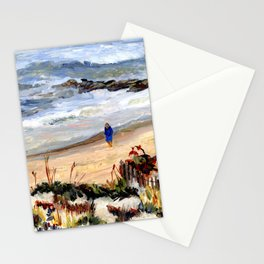 Walking the Beach, Long Beach Island, Jersey Shore, from original oil painting by Pamela Parsons. Stationery Cards
