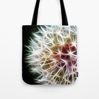 fractal Tote Bags featuring Fractal dandelion by Mark Nelson