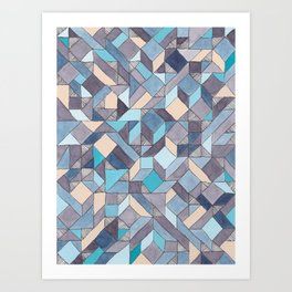 Shifitng Geometric Pattern in Blue Art Print