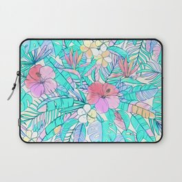 Pretty Pastel Hawaiian Hibiscus Print Laptop Sleeve