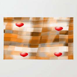 Little Red Hearts over Amber Tiles Rug