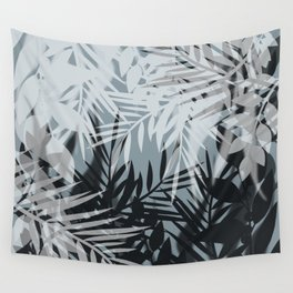Gray Leaves pattern . Wall Tapestry