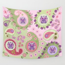 Retro paisley shapes with cute owls and flowers Wall Tapestry