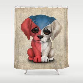 Cute Puppy Dog with flag of Czech Republic Shower Curtain