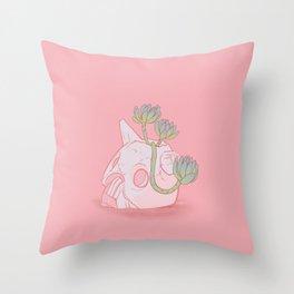 Nausicaä Succulent Planter // Coral Pink Version Throw Pillow