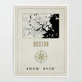 Boston - Vintage Map and Location Poster