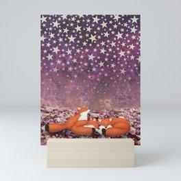 foxes under the stars Mini Art Print