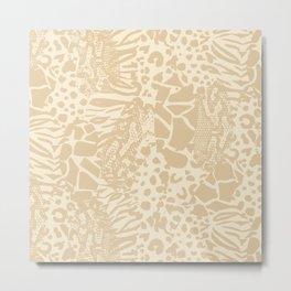 Animal Print Mix - Beige Tan Metal Print