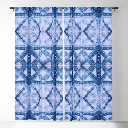 Indigo Geometric Shibori Blackout Curtain