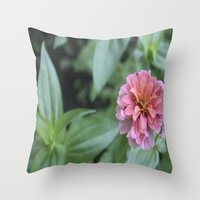 rileigh smirl Throw Pillows featuring Pink Flower by Rileigh Smirl