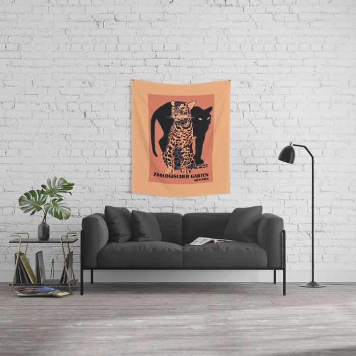 Retro vintage Munich Zoo big cats Wandbehang