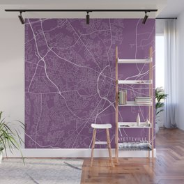Fayetteville Map, USA - Purple Wall Mural