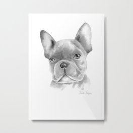 WATERCOLOR FRENCH BULLDOG / FRENCHIE IN BLACK Metal Print