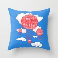 hot air balloon Throw Pillows featuring Hot Air Balloon by lush tart
