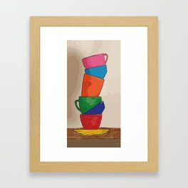 Rainbow Coffee Cups Framed Art Print