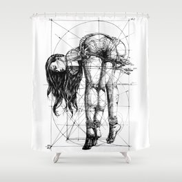 Lady on Table. Workbench. Yury Fadeev. Shower Curtain