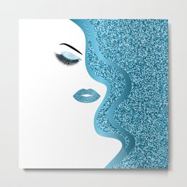 Blue glitte woman Metal Print