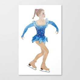 Girl with pigtail. Figure skater Canvas Print