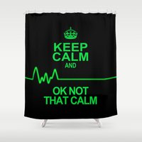 keep calm Shower Curtains featuring Keep Calm by Alice Gosling