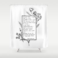 kerouac Shower Curtains featuring It's not that I can't fall in Love... by Narts and Crafts