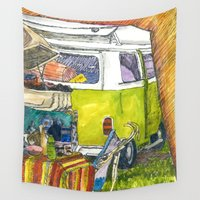 vw bus Wall Tapestries featuring VW Bus Campsite by Barb Laskey Studio