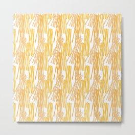 Modern sunshine yellow orange white abstract pattern Metal Print