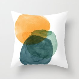 Watercolor Circles in Autumn Shades of Mustard and Teal Throw Pillow