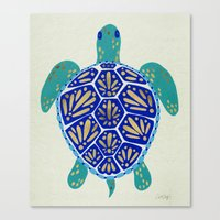 sea turtle Canvas Prints featuring Sea Turtle by Cat Coquillette