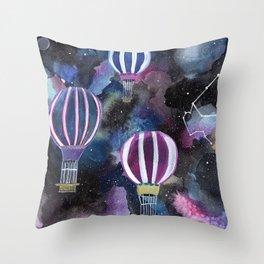 Hot Air Balloon in Galaxy Sky Throw Pillow