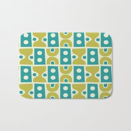 Funky Mid Century Modern Pattern 773 Turquoise and Chartreuse Bath Mat