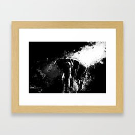 elephant jungle sunray ws bw Framed Art Print