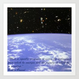 Hubble Deep Field Astronaut Floating Blaise Pascal Art Print