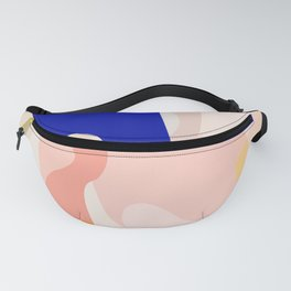 Modern Abstract Peach Pink Navy Blue Yellow Pattern Fanny Pack