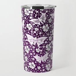 purple,siilver,flowers, stars, butterfly, pattern, bright, shiny, elegant, color Travel Mug